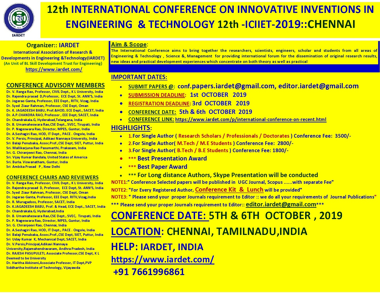 12th International Conference on Innovative Inventions in Engineering and Technology ICIIET 2019