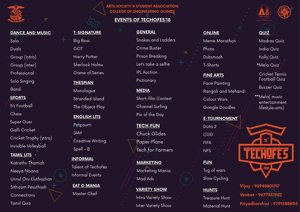 Techofes 2018, College of Engineering Guindy Anna University