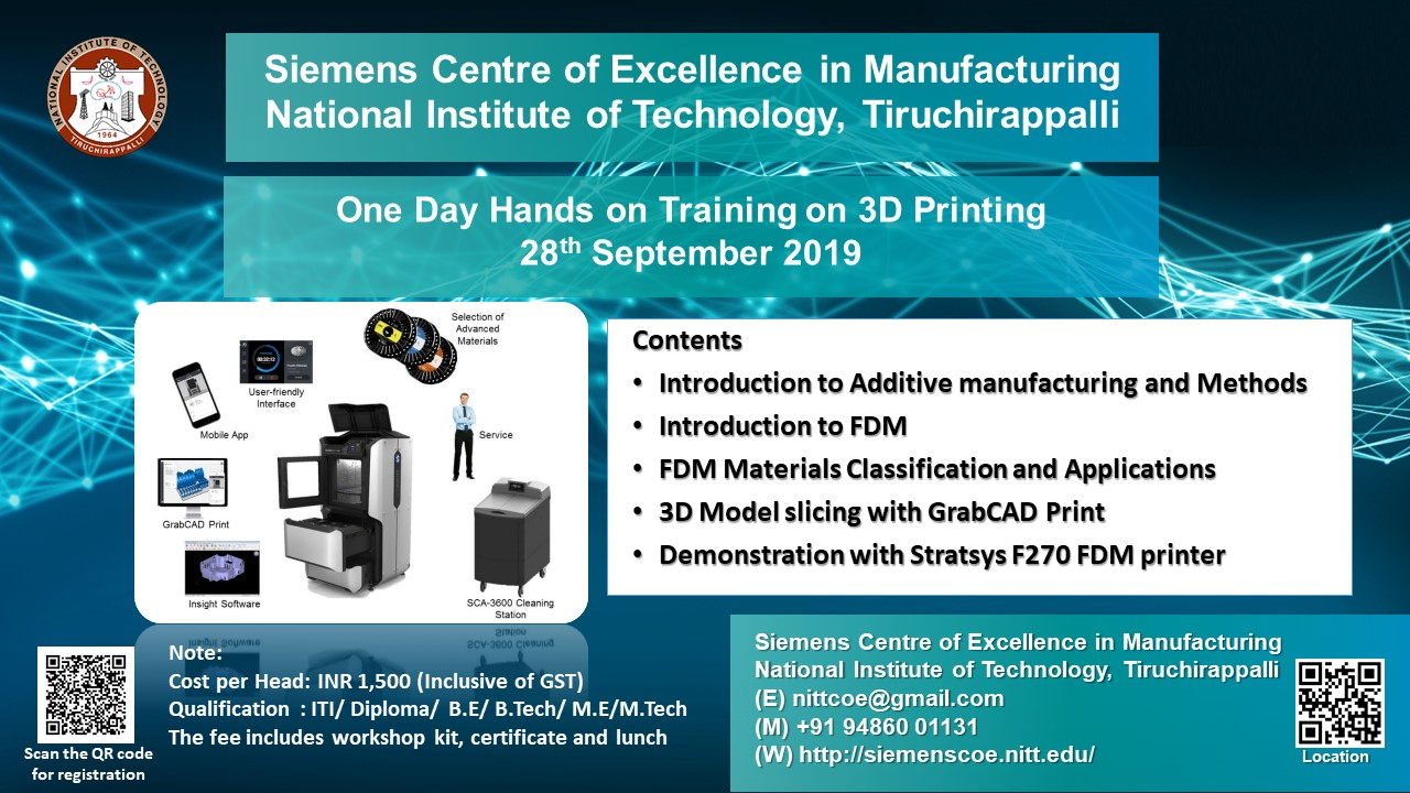 One Day Hands on Training on 3D Printing 2019