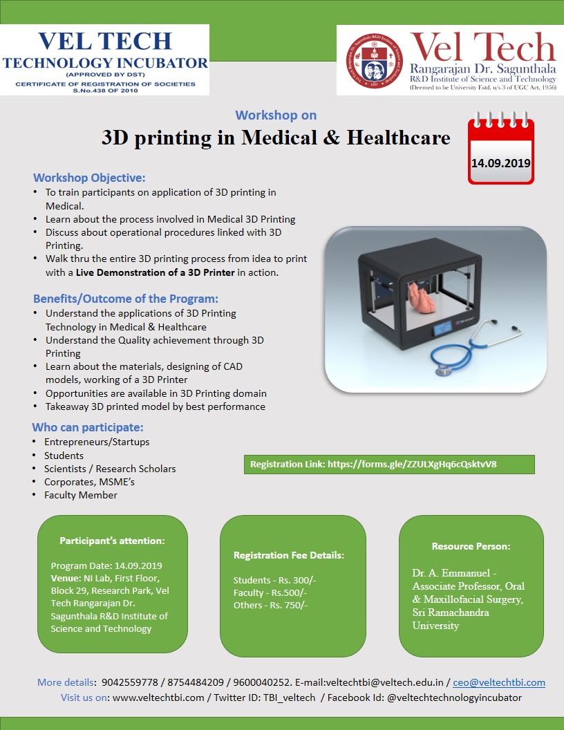 Workshop on 3D Printing in Medical and Healthcare 2019