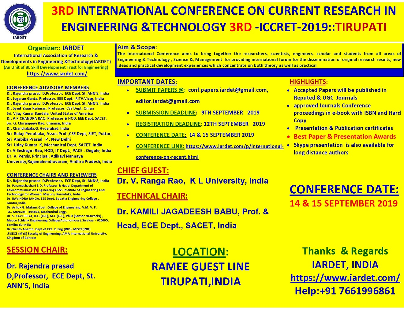 3rd International Conference on Current Research in Engineering and Technology ICCRET 2019