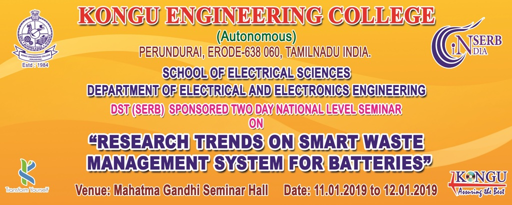 Two Days National Seminar on Research Trends on Smart Waste Management System for Batteries 2019