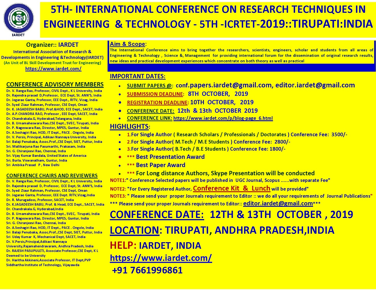 5th International Conference on Research Techniques in Engineering and Technology ICRTET 2019