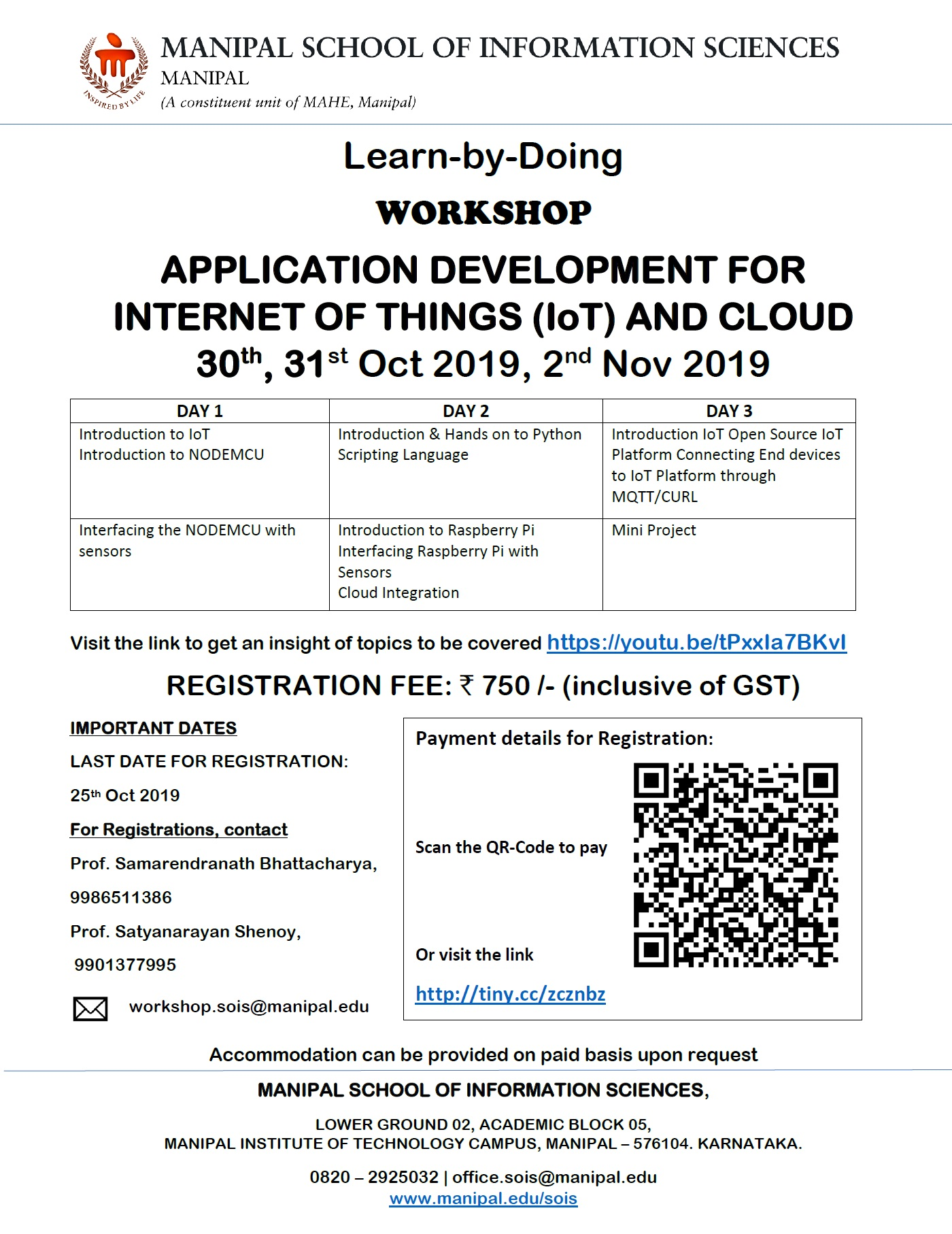 Lear-by-Doing Workshop on Application Development for IoT and Cloud using Raspberry Pi 2019