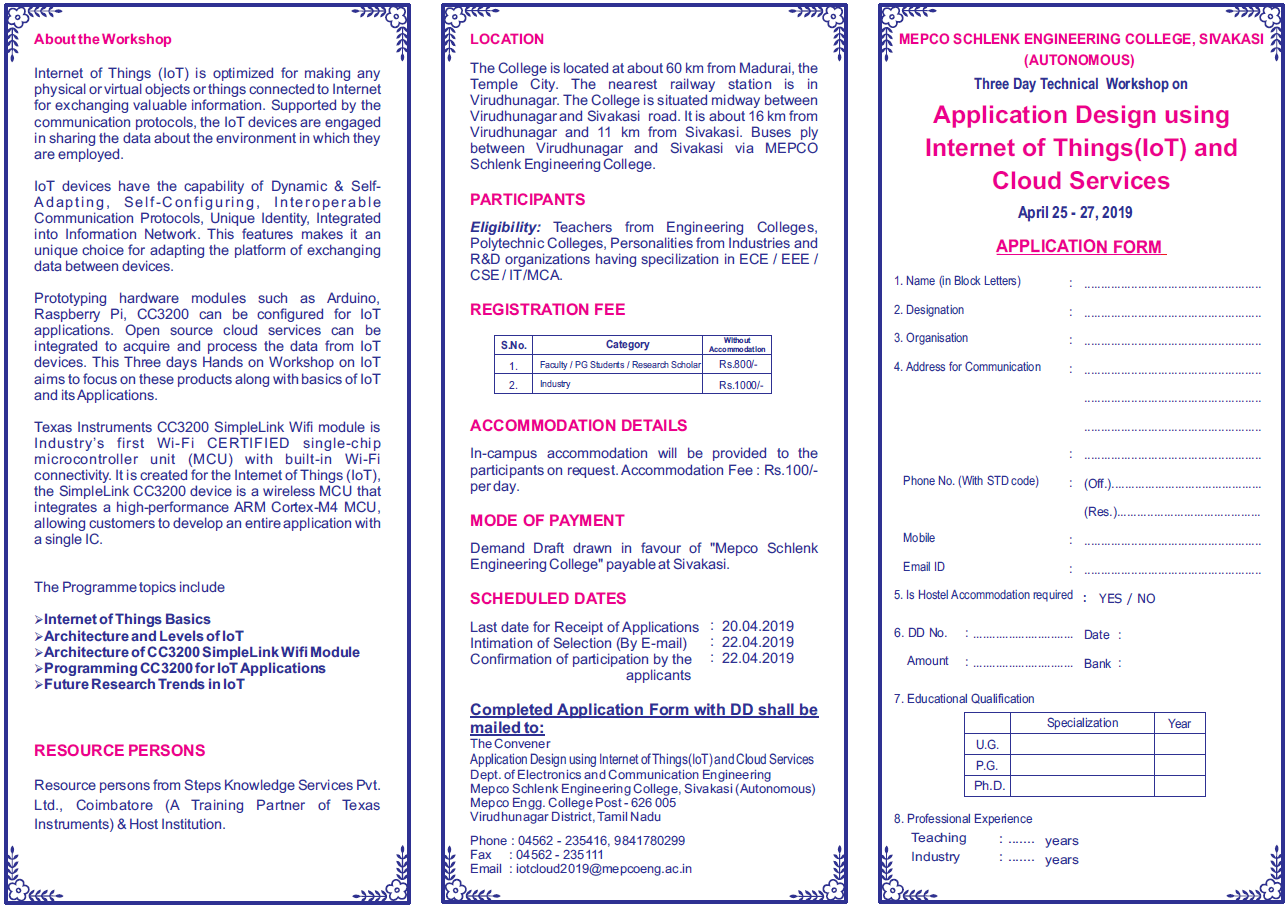Three Day Technical Workshop on Application Design using Internet of Things (IoT) and Cloud Services 2019