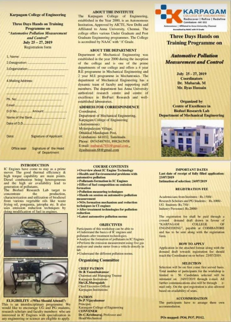 Three days Hands on Training Program on Automotive Pollution Measurement and Control 2019