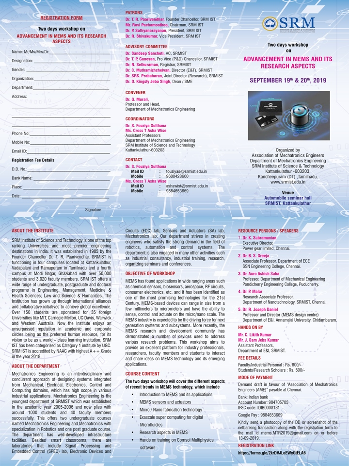 Workshop on Advancement in MEMS and its Research Aspects 2019