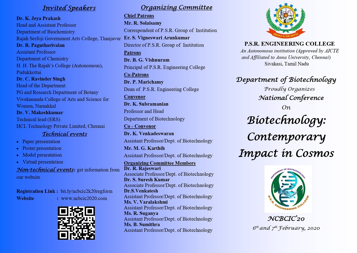 National Conference on Biotechnology:Contemporary Impact in Cosmos NCBCIC 20