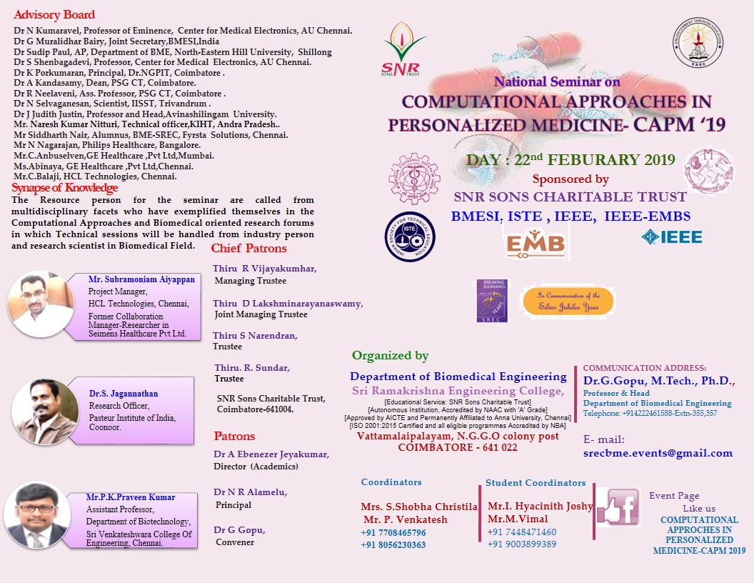 Computational Approaches for Personalized Medicine CAPM 2019