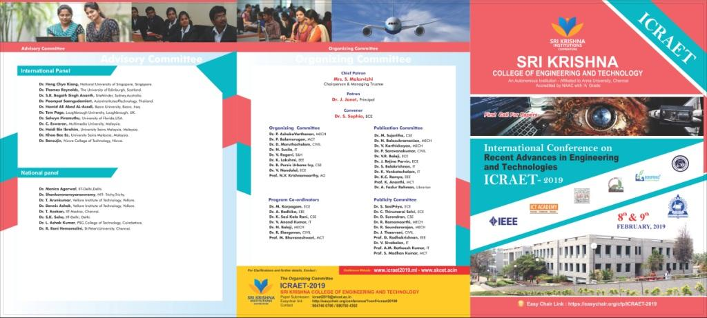 International Conference on Recent Advances in Engineering and Technologies ICRAET 2019