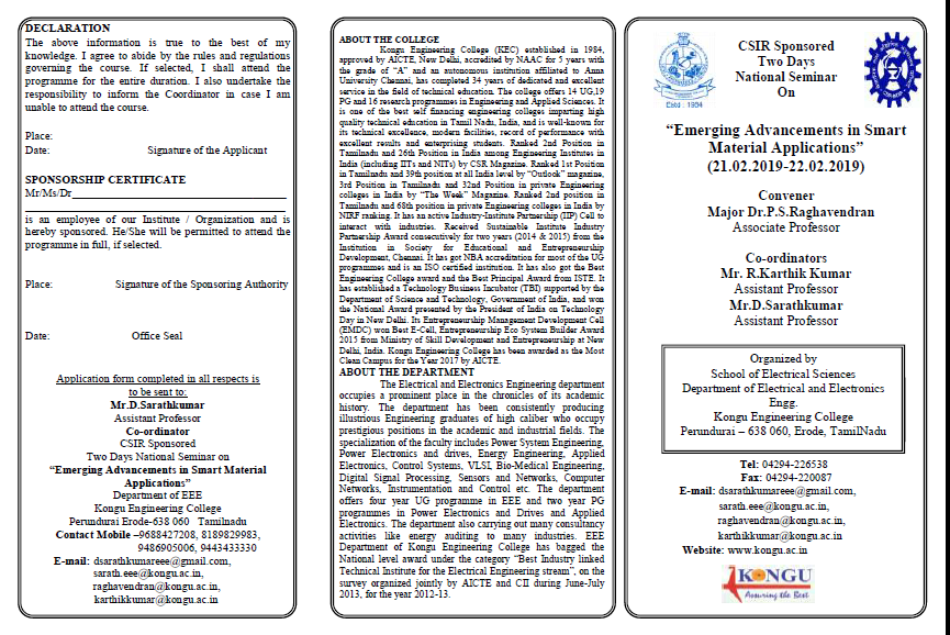 CSIR Sponsored Two Days National Level Seminar on Emerging Advancements in Smart Material Applications 2019