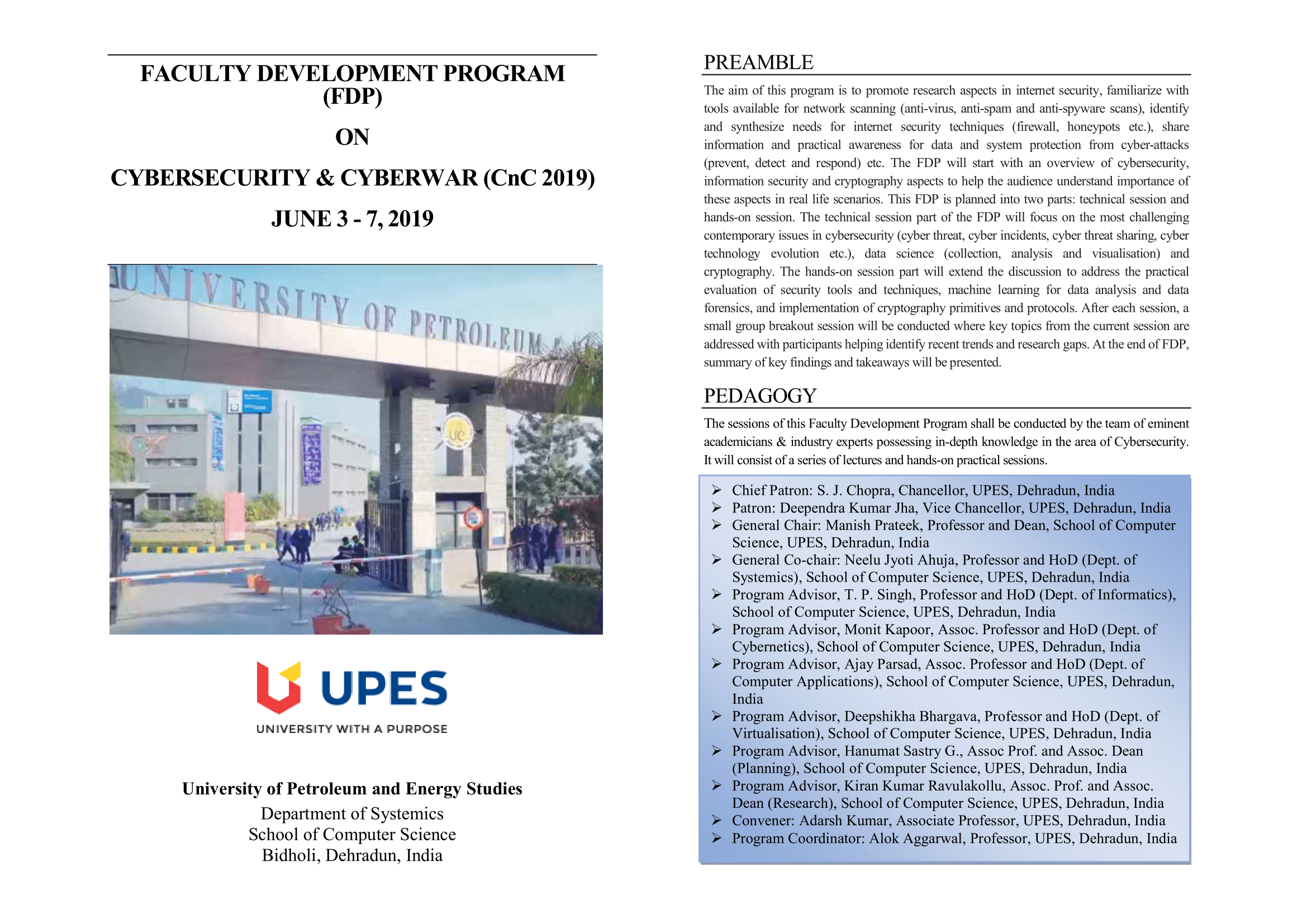 Faculty Development Program on Cyber Security and Cyber War 2019