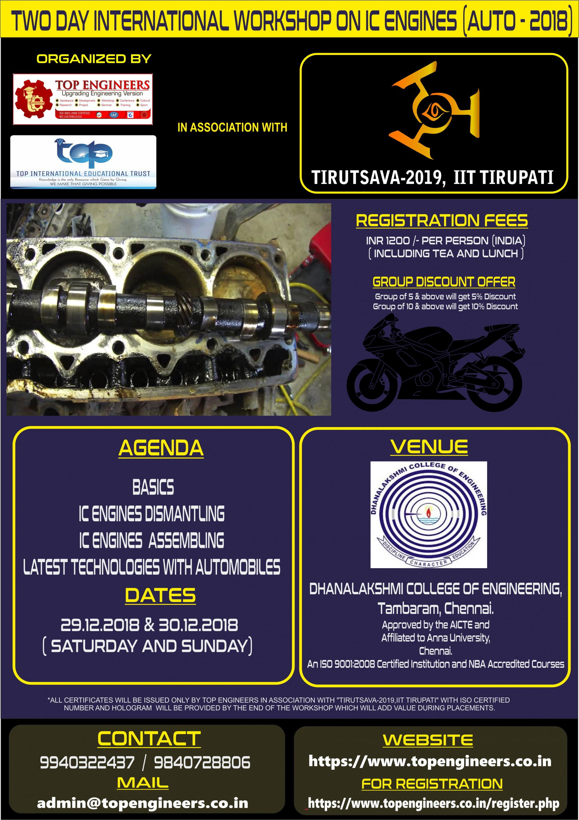 Two Day International Workshop on IC Engines Auto 2018