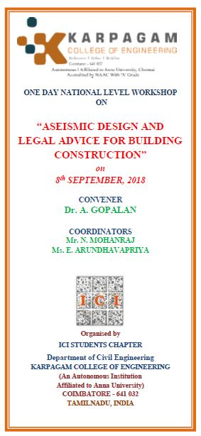 Workshop on Aseismic Design and Legal Advice for Building Construction 2018