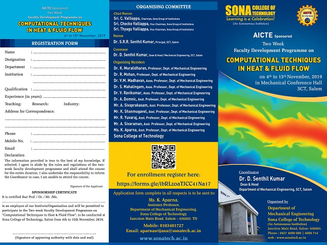 Two Week Faculty Development Programme Computational Techniques in Heat and Fluid Flow 2019