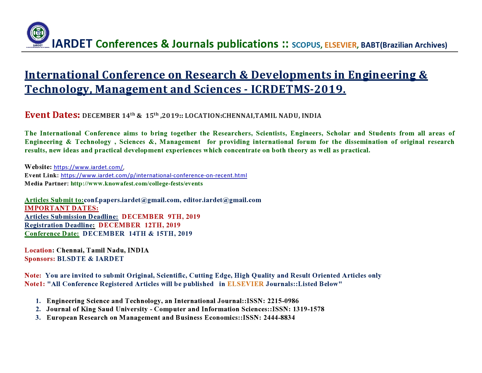 International Conference on Research and Developments in Engineering and Technology, Management and Sciences ICRDETMS 2019