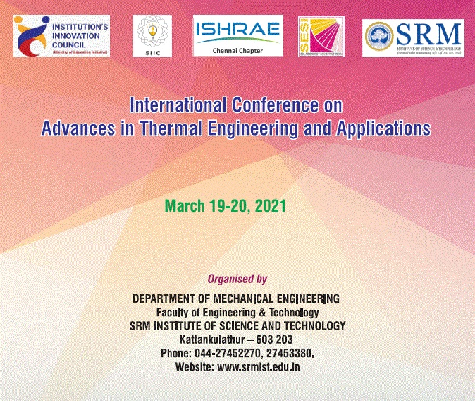 International Conference on Advances in Thermal Engineering and Applications ICATEA 2021