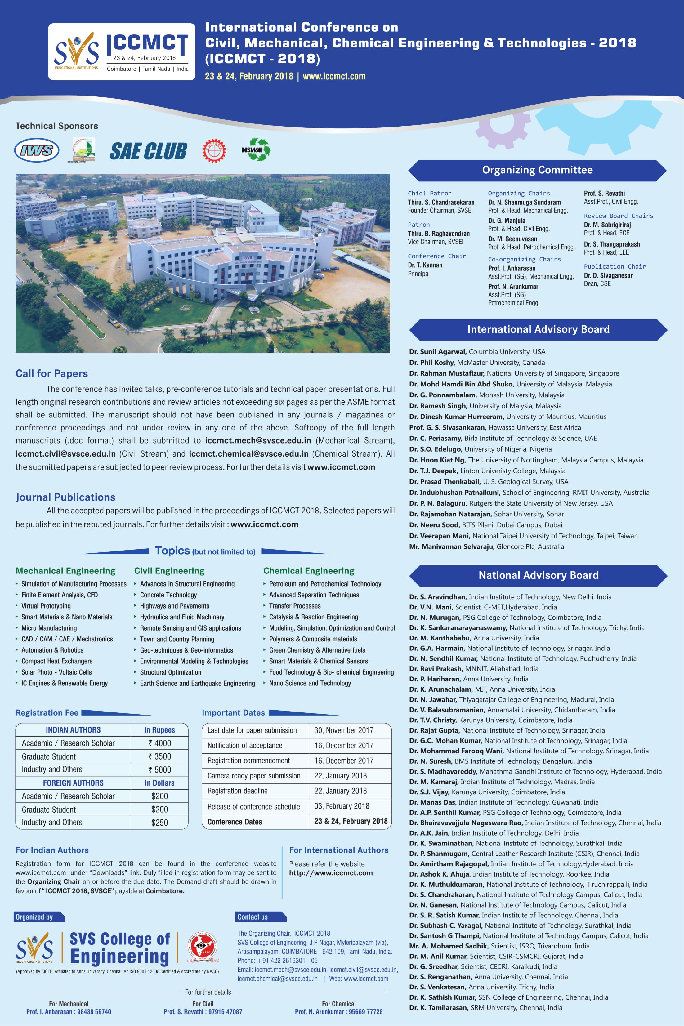 International Conference on Civil, Mechanical, Chemical Engineering and Technologies ICCMCT 2018