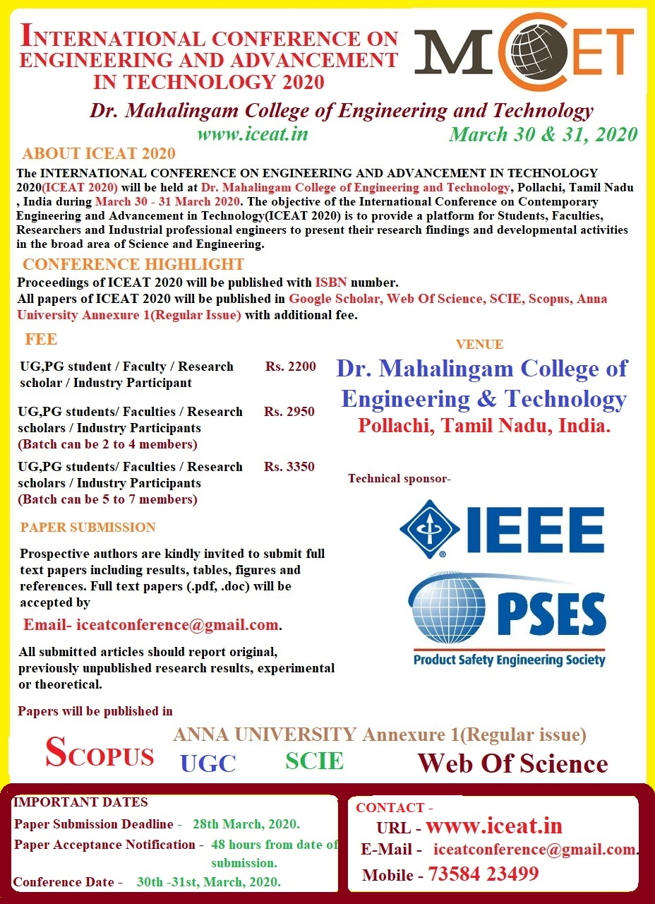 International Conference on Engineering and Advancement in Technology ICEAT 2020