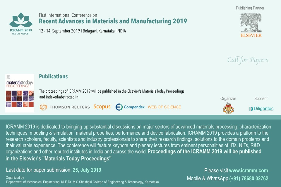 International Conference on Recent Advances in Materials and Manufacturing ICRAMM 2019
