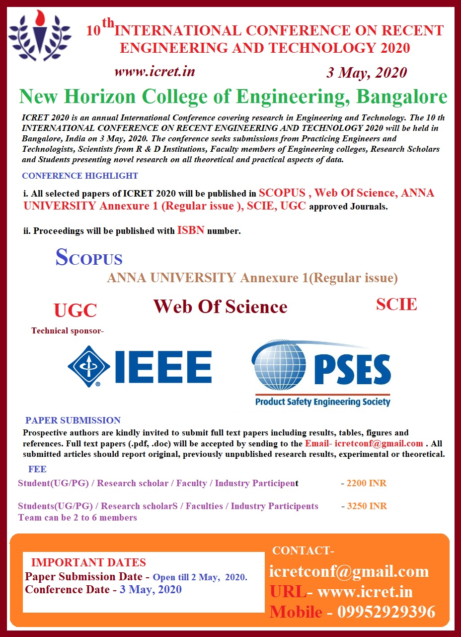10th International Conference on Recent Trends in Engineering Technology ICRET 2020
