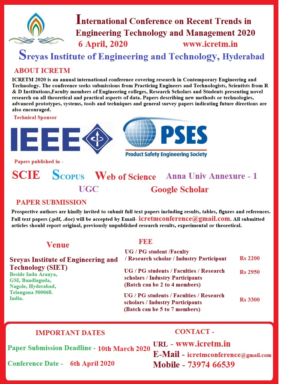 International Conference on Recent Trends in Engineering Technology and Management ICRETM 2020