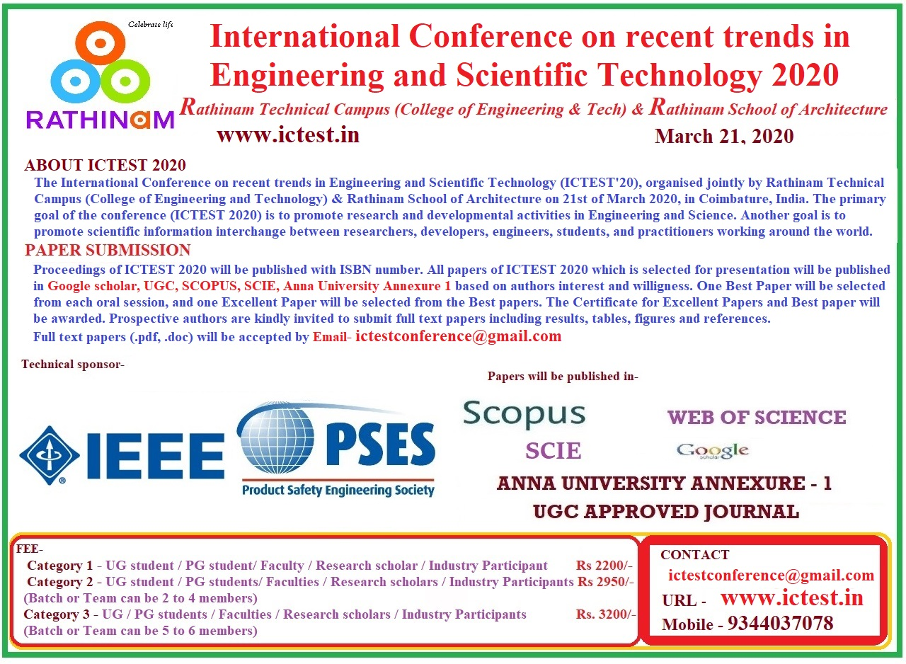 International Conference on recent trends in Engineering and Scientific Technology 2020