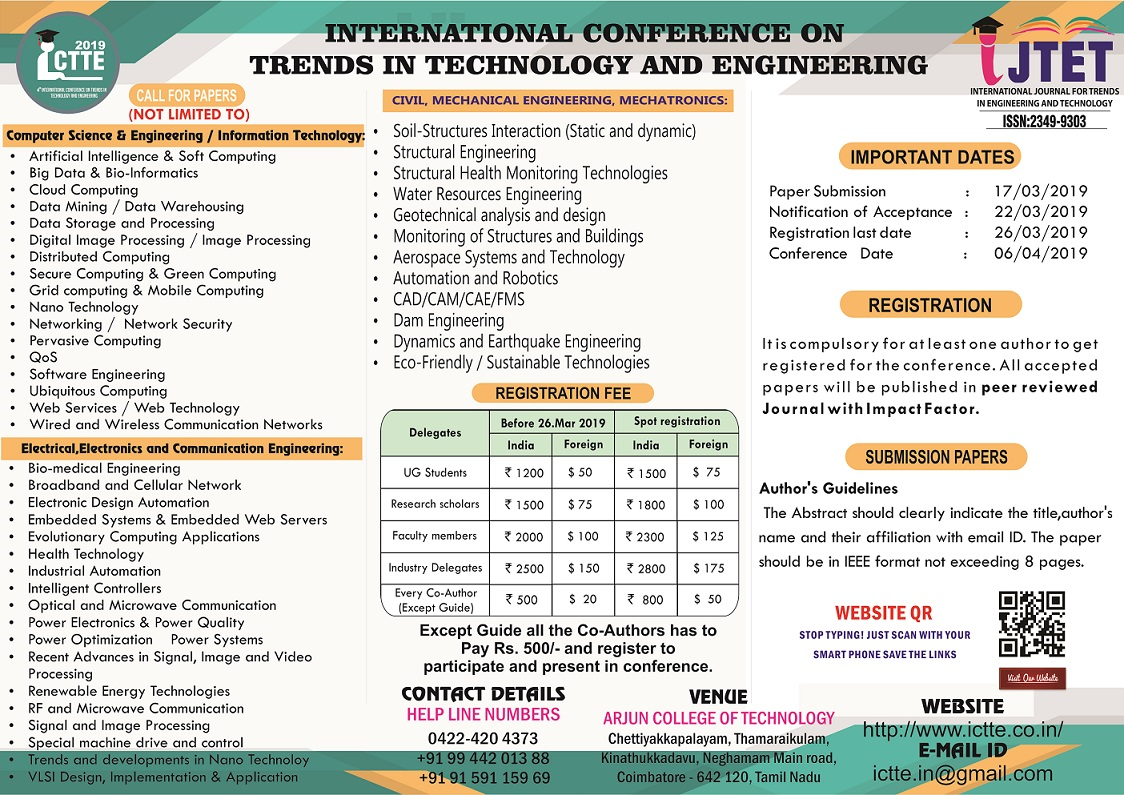 International Conference on Trends in Technology and Engineering ICTTE 19