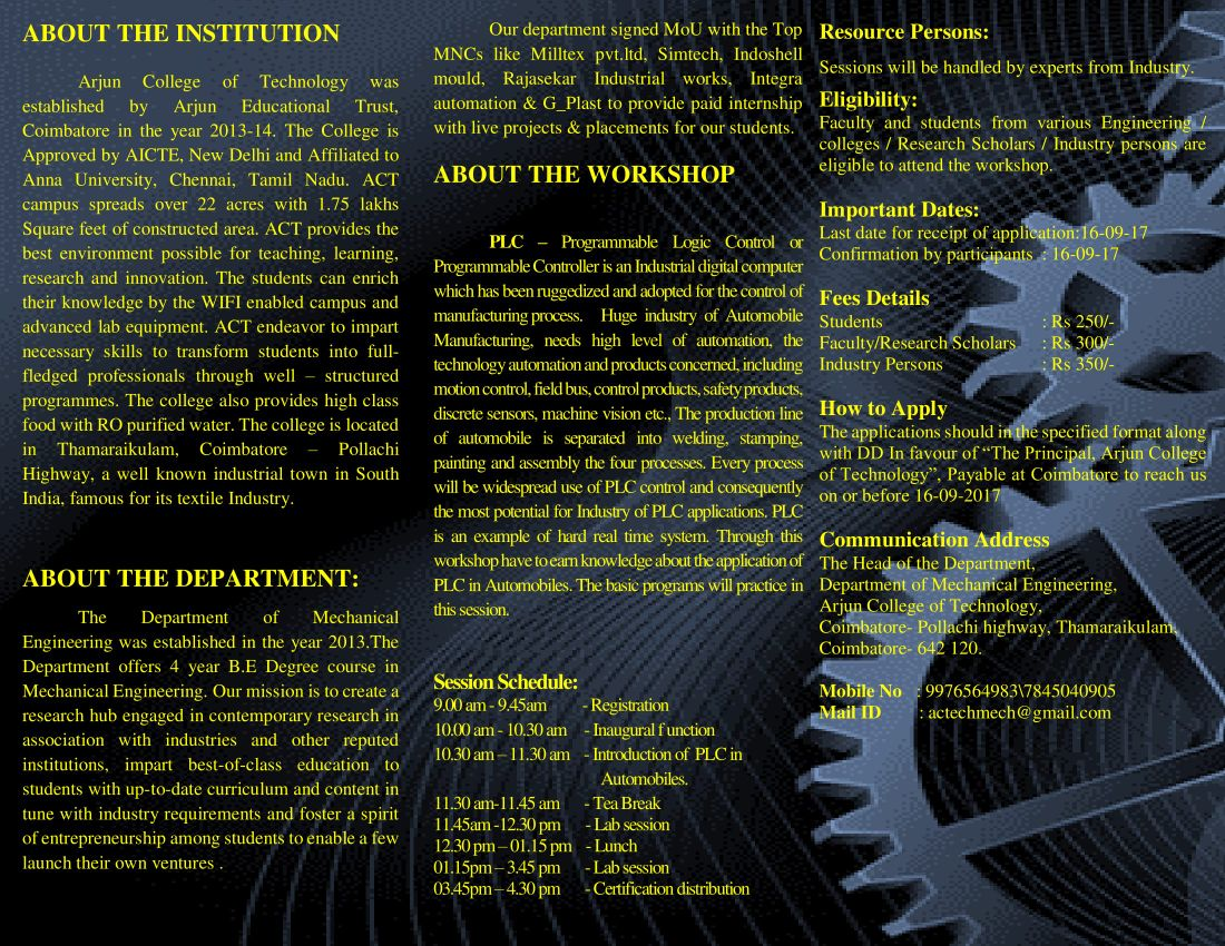 Workshop on PLC integrated with Automobile Applicants