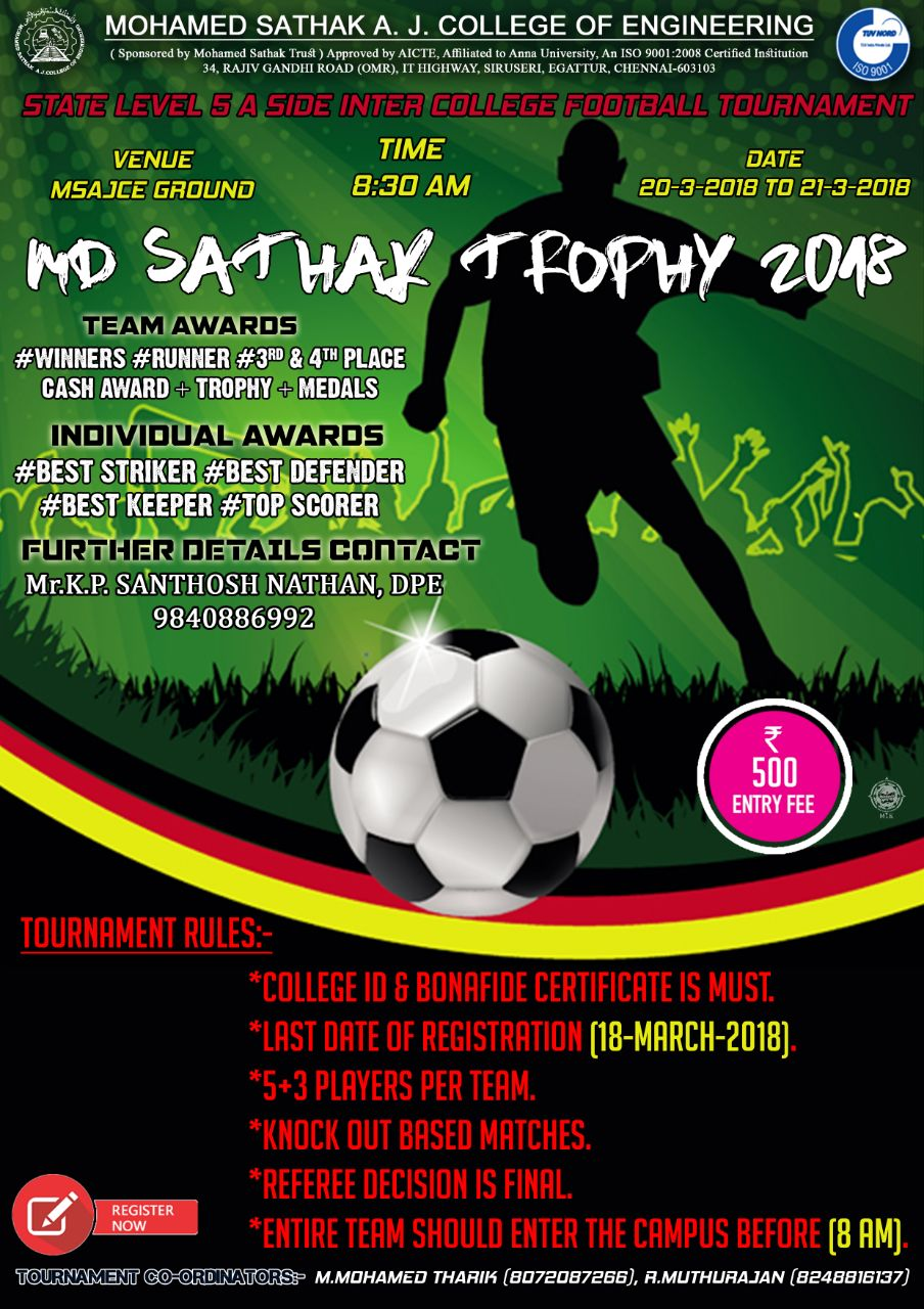 MD Sathak Football Trophy 2018