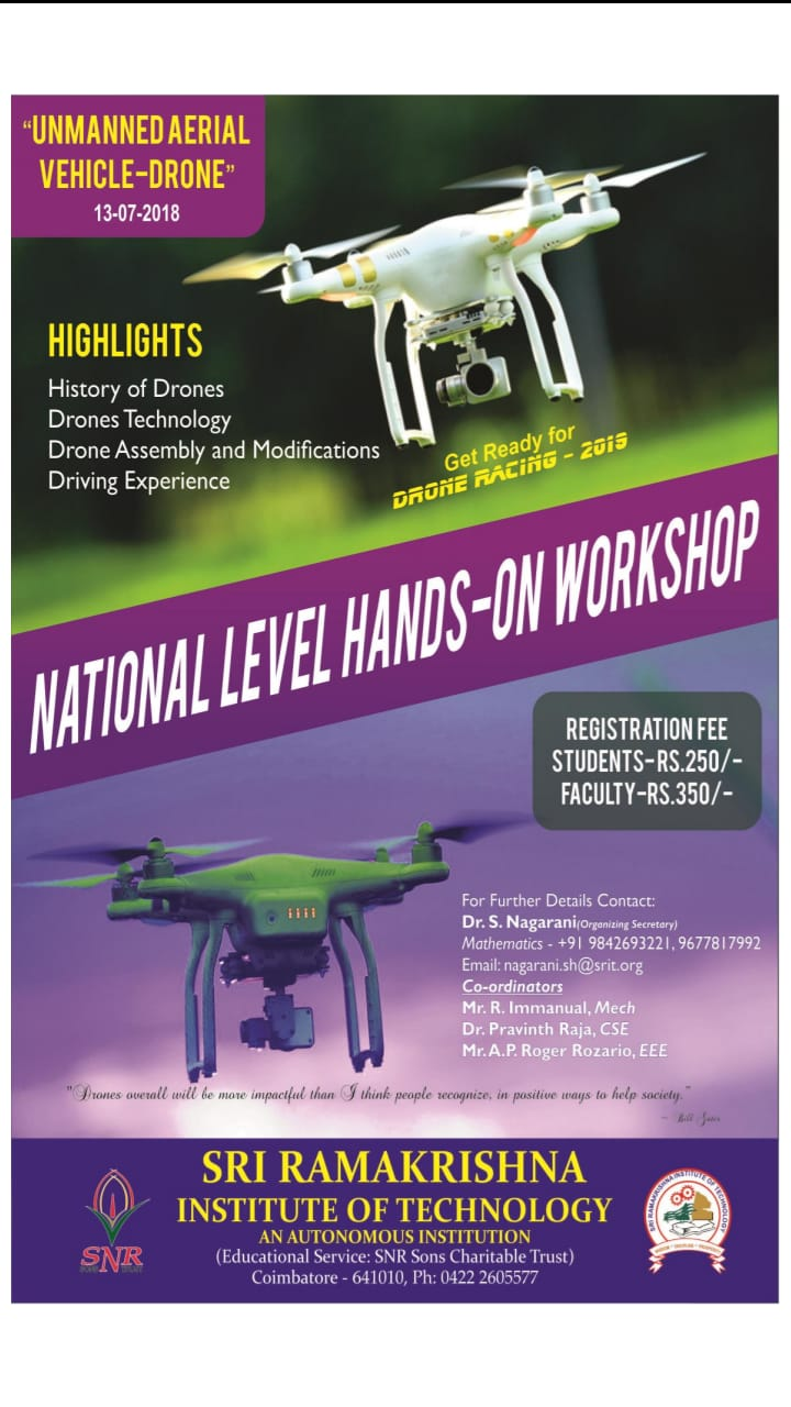 One Day National Level Hands-on Workshop on Unmanned Aerial Vehicle Drone 2018