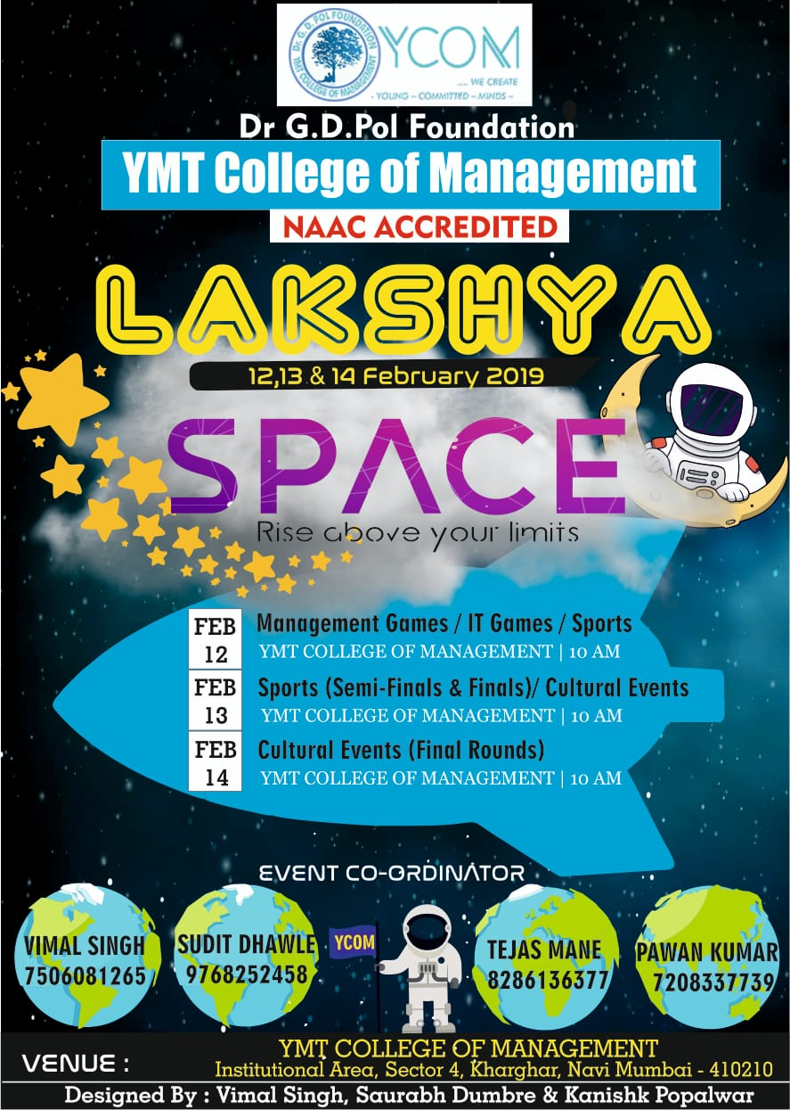 LAKSHYA 2019, Dr GD Pol Foundation YMT College of Management