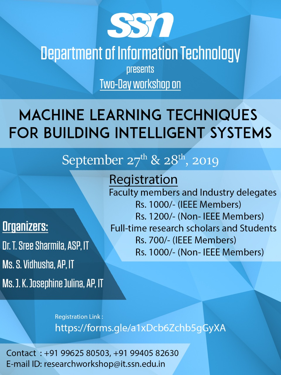 Machine Learning Techniques for Building Intelligent Systems 2019