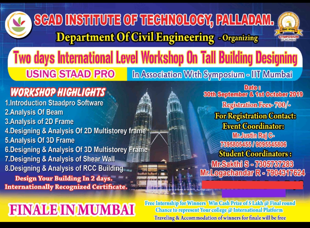 Two days International workshop on tall building designing using STAAD pro 2019