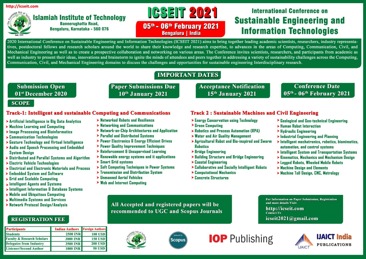 International Conference on Sustainable Engineering and Information Technologies ICSEIT 2021