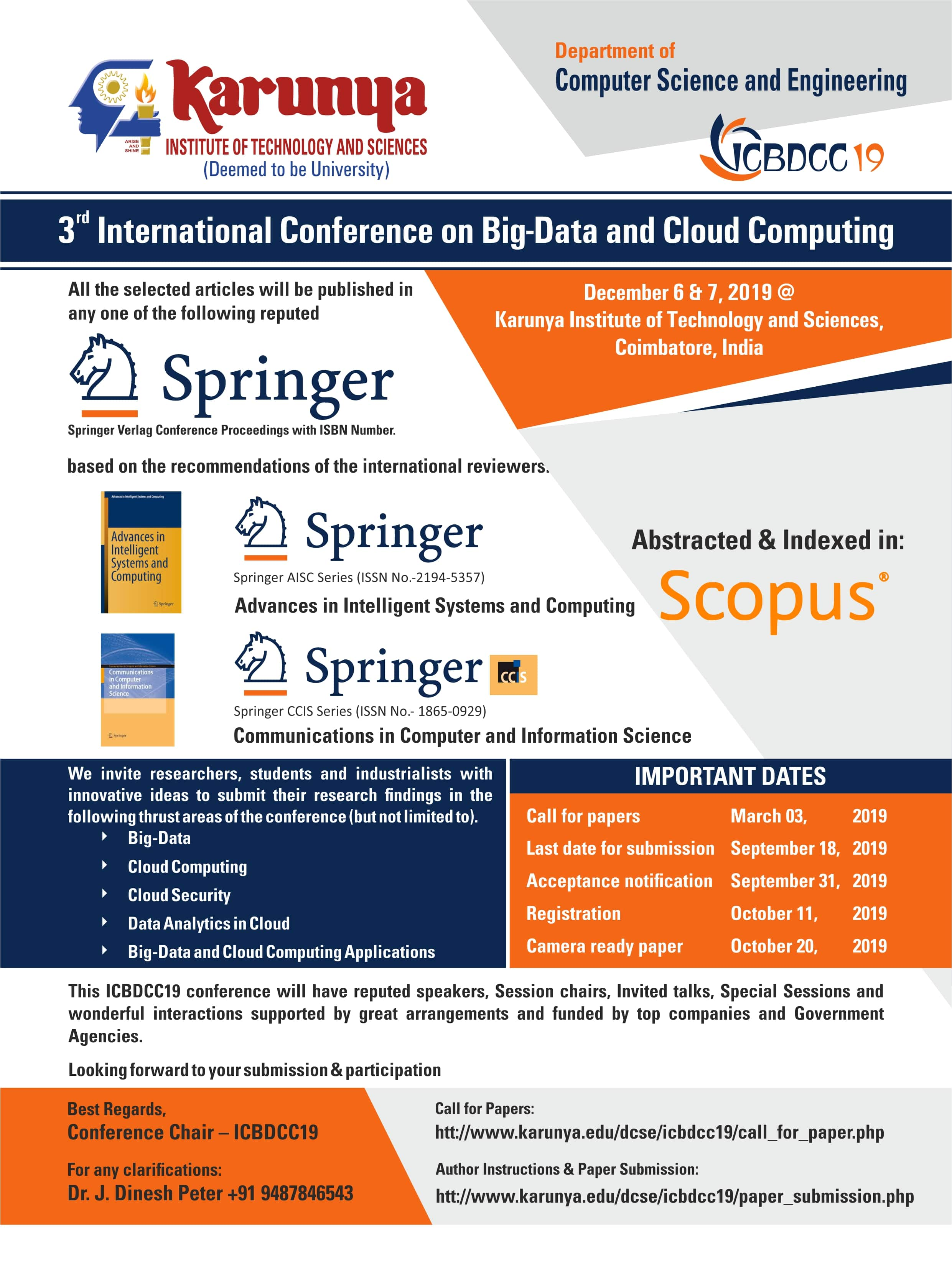 3rd International Conference on Big Data and Cloud Computing ICBDCC 2019