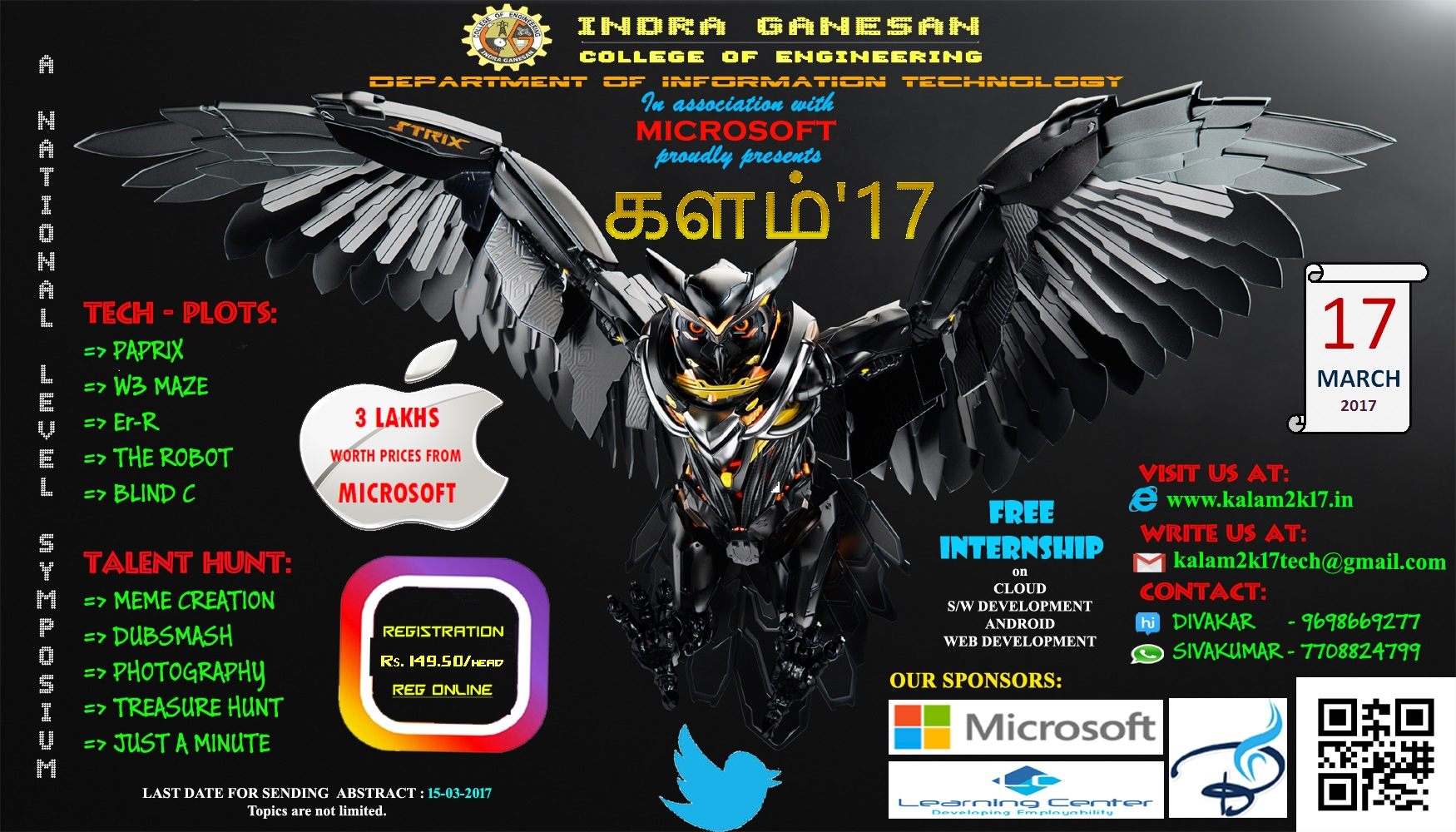 Poster design for symposium - Category Technical Symposium Organiser Indra Ganesan College Of Engineering Location Tiruchirappalli Tamil Nadu Event Dates 17th March 2017