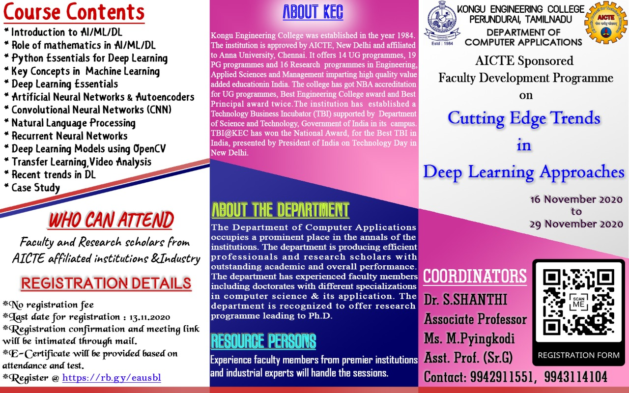 AICTE Sponsored Faculty Development Programme on Cutting Edge Trends in Deep Learning Approaches 2020