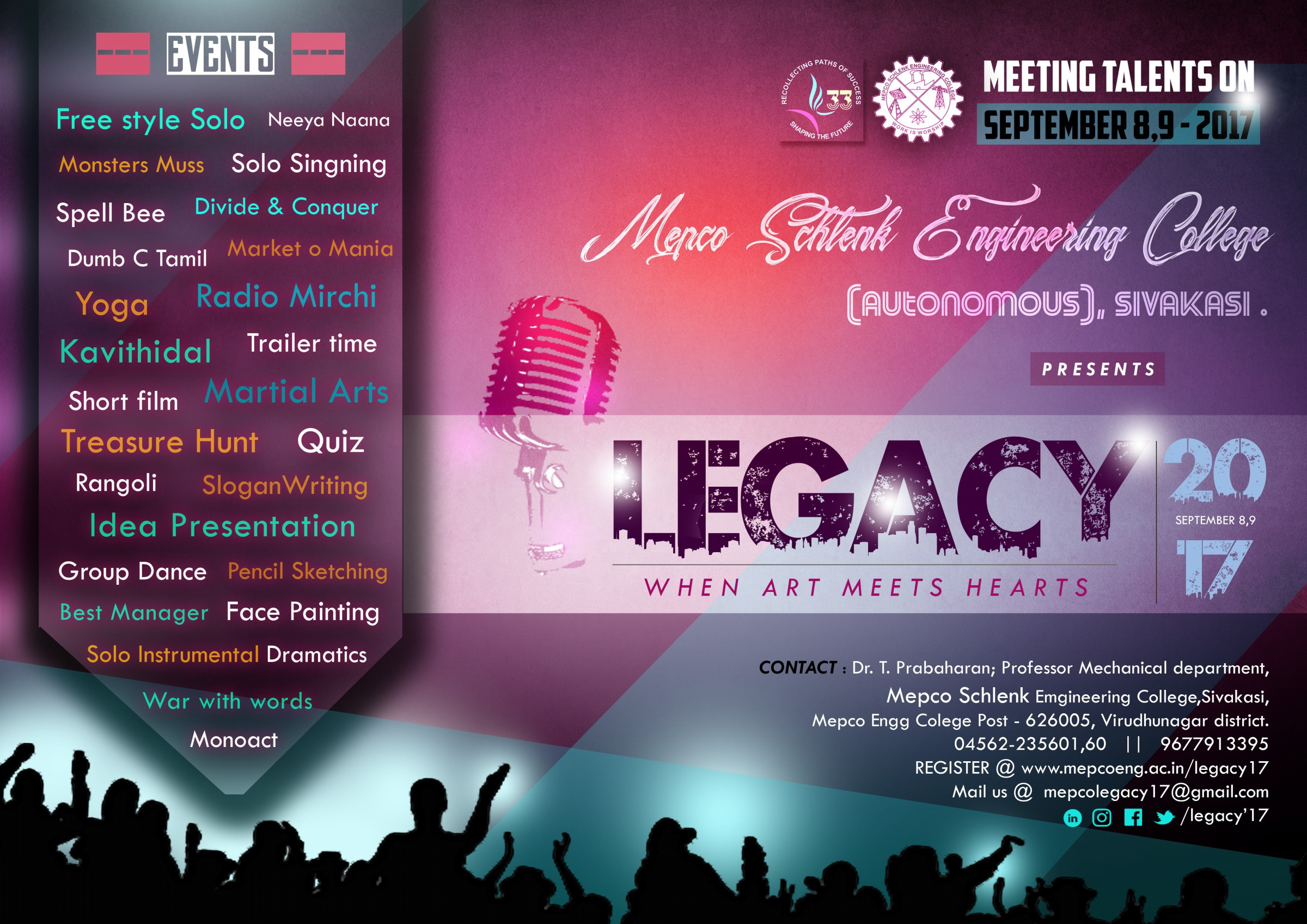 Legacy 2017, Mepco Schlenk Engineering College, Cultural