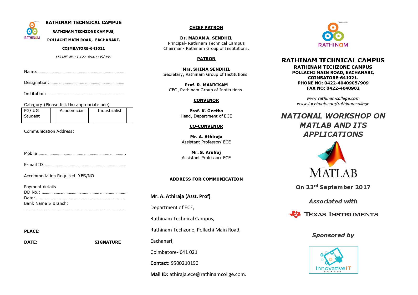 National Workshop on Matlab and its Applications 2017