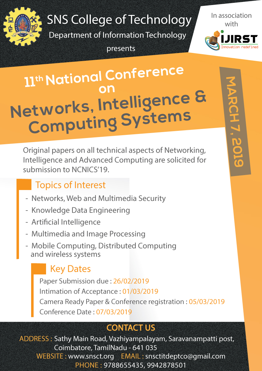 National Conference on Networks, Intelligence and Computing Systems 2019