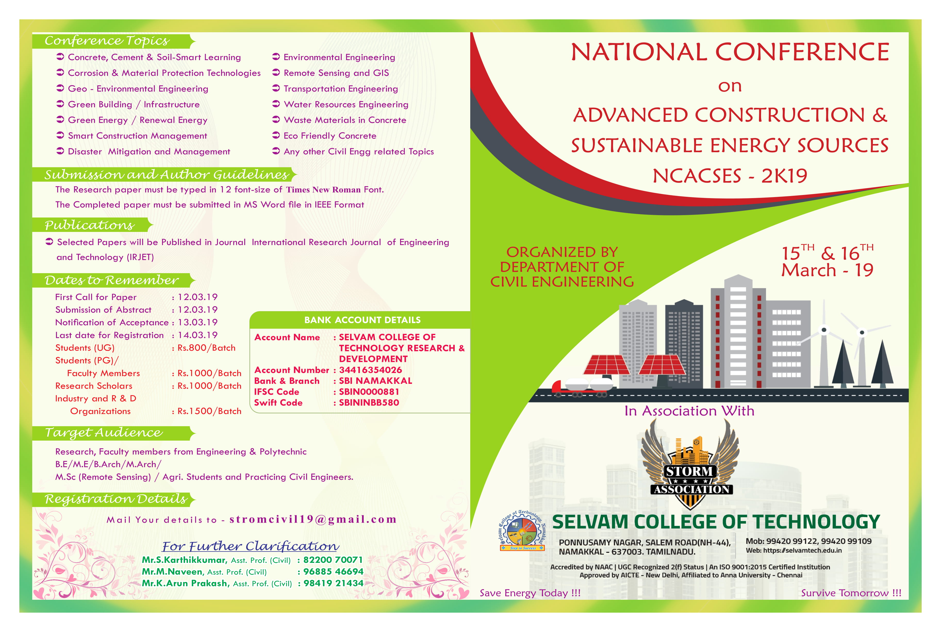 National Conference on Advanced Construction and Sustainable Energy