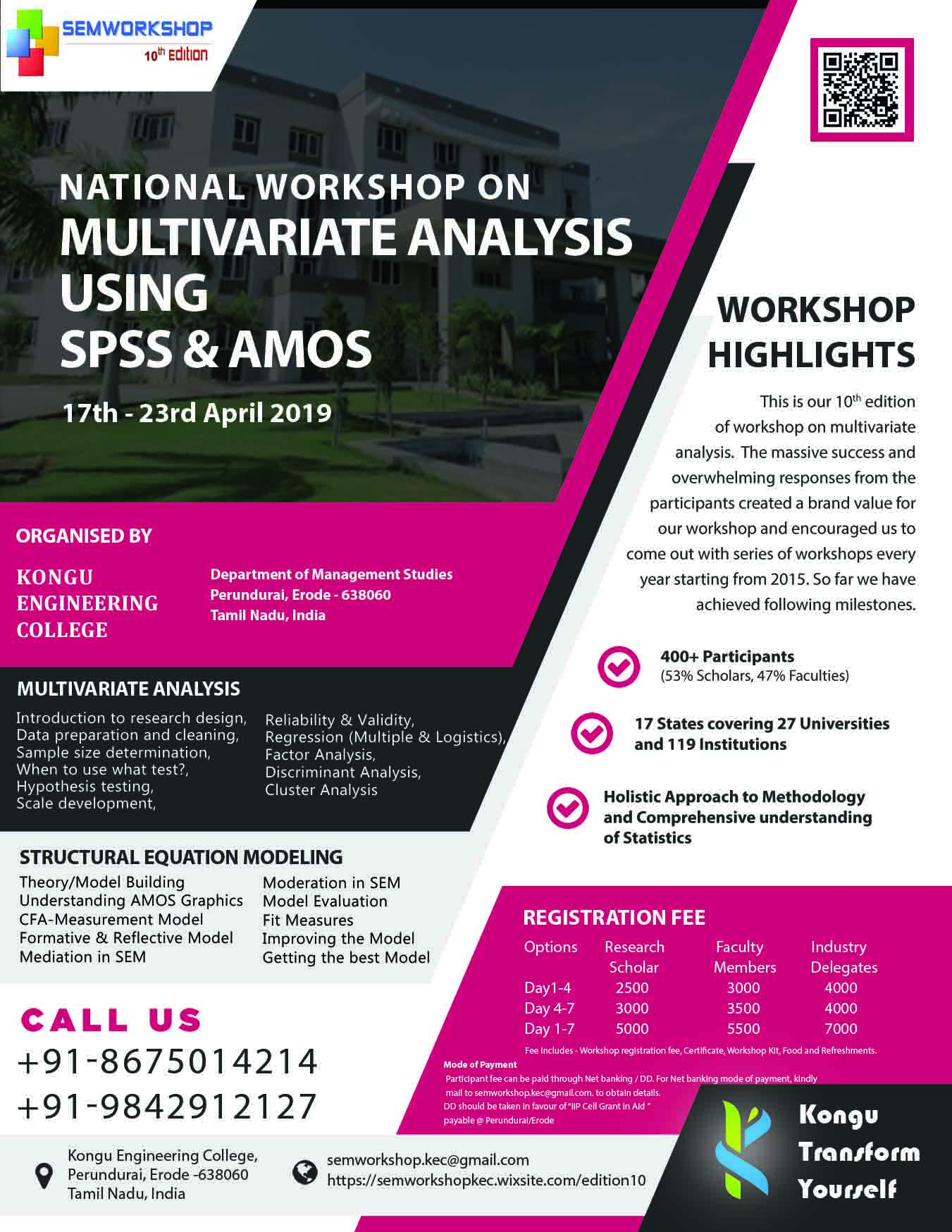 Workshop on Multivariate Analysis Using SPSS and AMOS 2019, Kongu