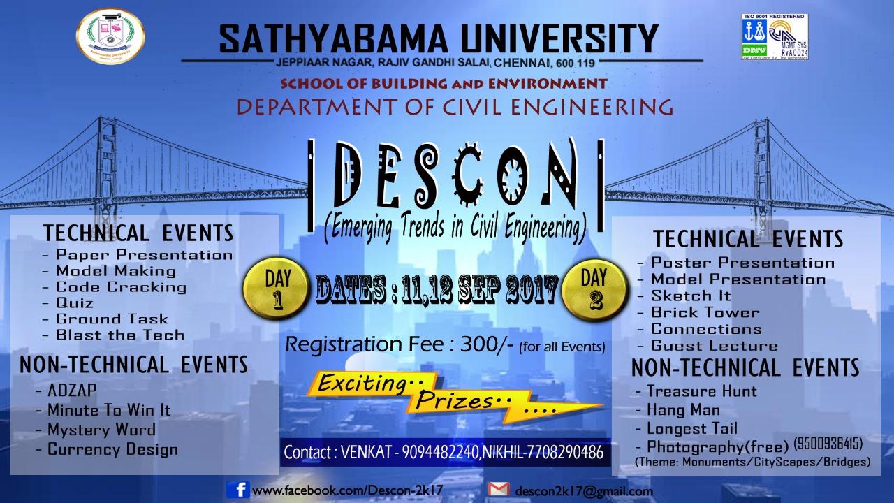 DESCON 2017, Sathyabama University, Civil Engineering