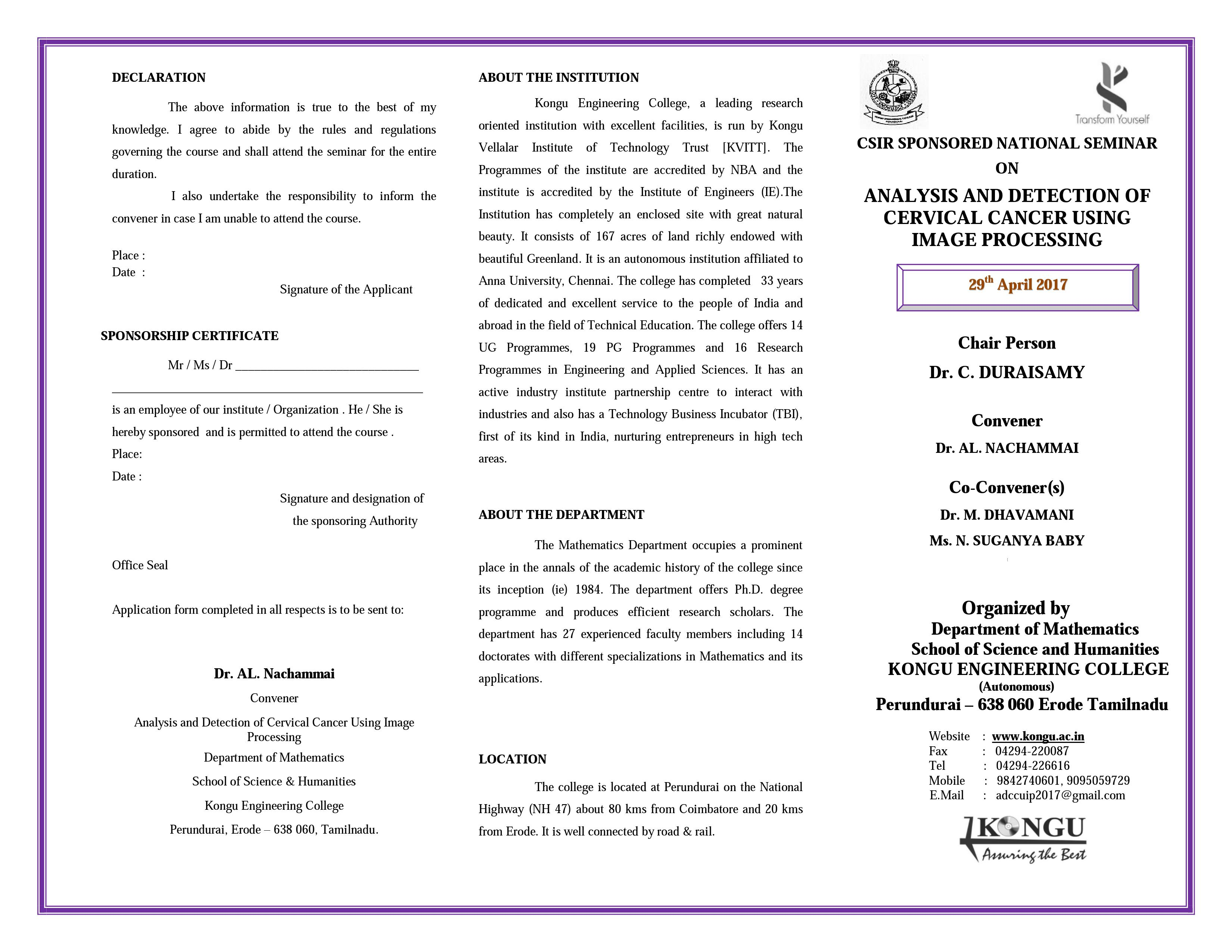 National Seminar on Analysis and Detection of Cervical Cancer Using Image Processing