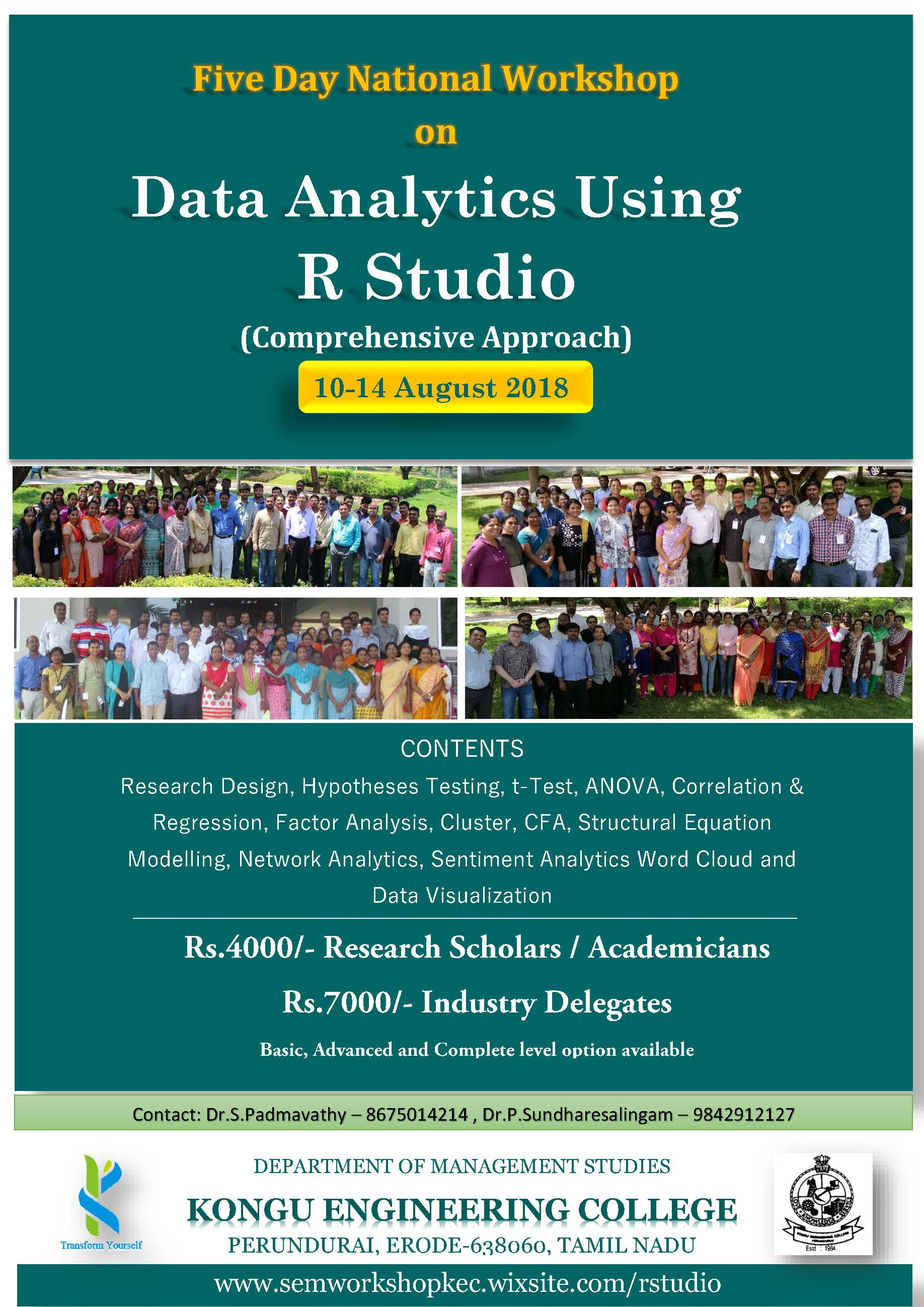 Workshop on Data Analytics using R Studio 2018