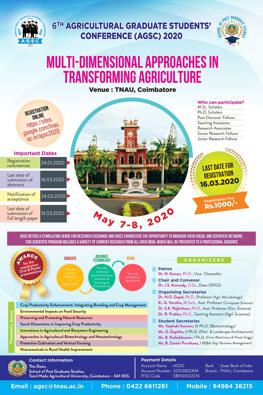 Agricultural Graduates Students Conference AGSC 2020