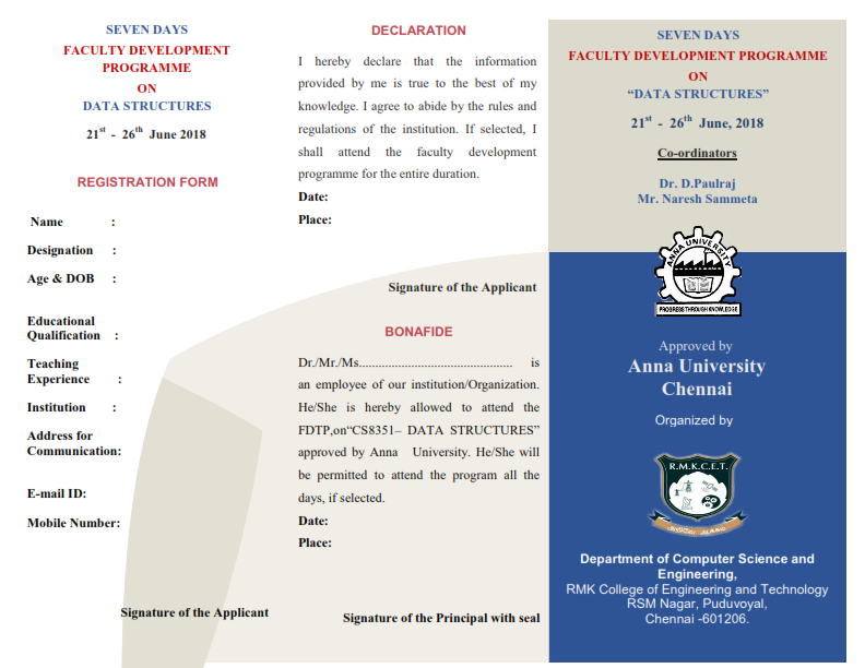 Seven Days Anna University Faculty Development Programme on Data Structures 2018