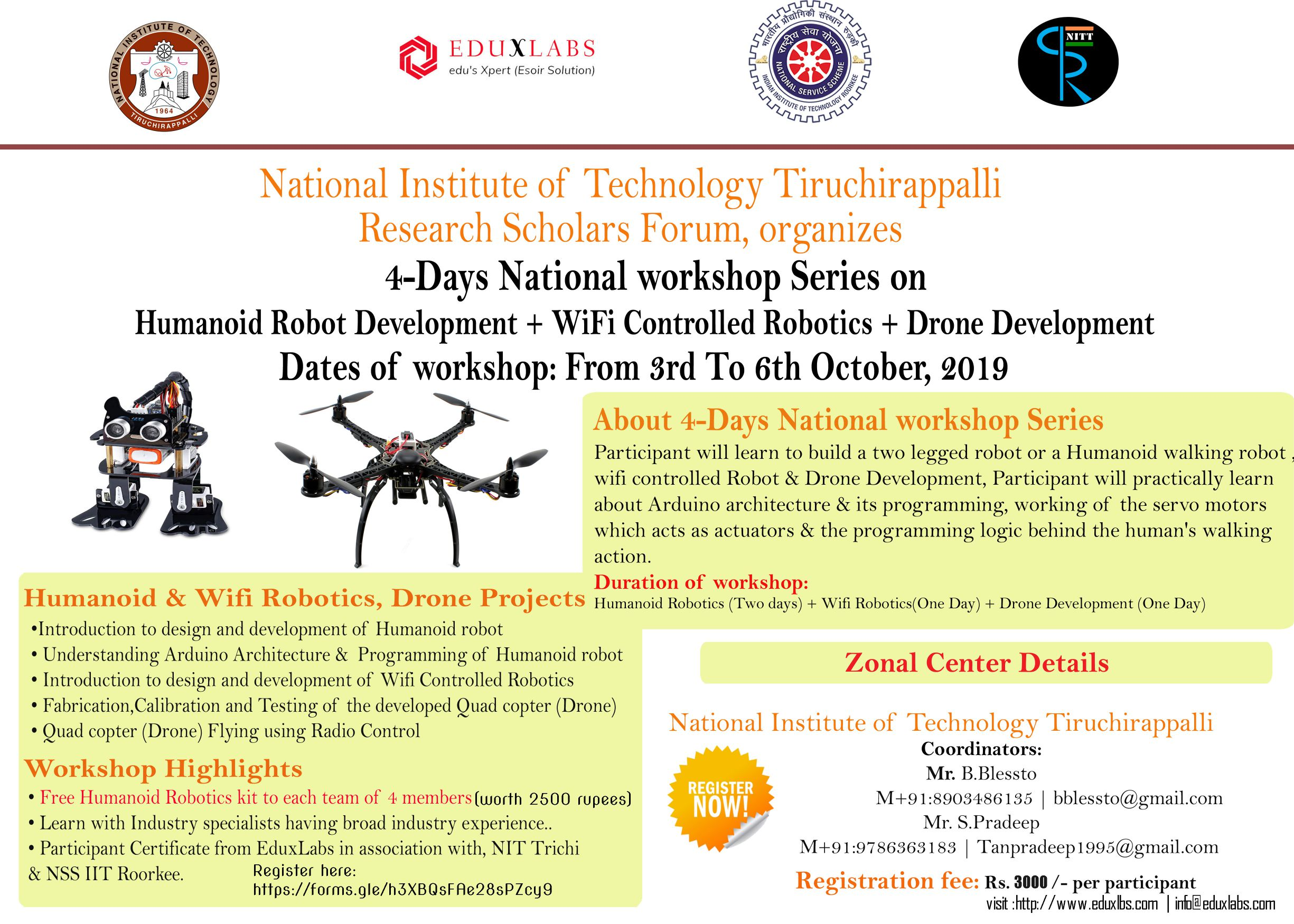 4 Days National Workshop on Robot and Drone Development 2019