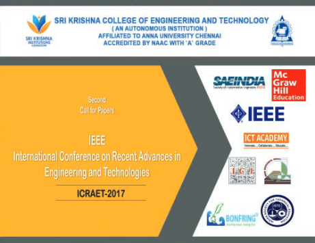 IEEE International Conference on Recent Advances in Engineering and Technology ICRAET 2017